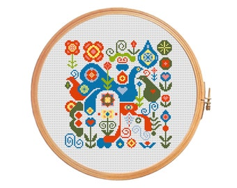 Birds and flowers - modern cross stitch pattern - gift on Valentine's Day present for the wedding