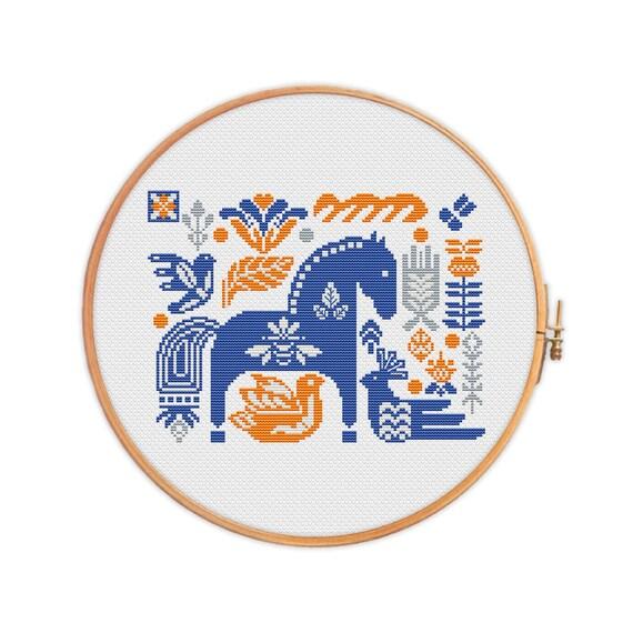 Cross stitch pattern Hygge horse Danish folk sampler | Etsy