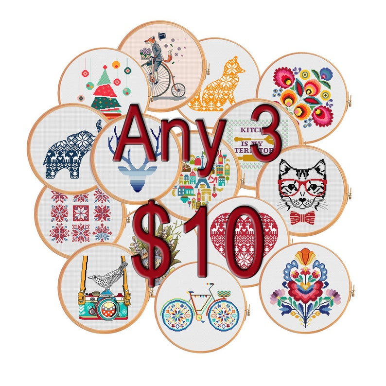 cross stitch patterns christmas sale wedding gift birthday gift cyber monday black friday deals Any 3 patterns for 10 dollars USD