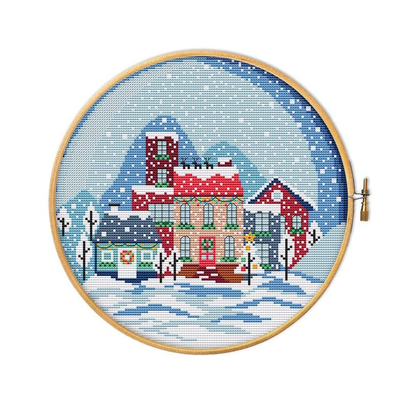 KIT Christmas town landscape modern cross stitch beginner Christmas village cross stitch