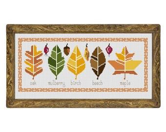 Herbarium - cross stitch pattern - modern cross stitch sampler autumn birch leaves maple mulberry oak tree forest