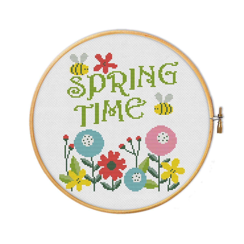 Spring time - cross stitch pattern - round modern cross stitch - flowers  design