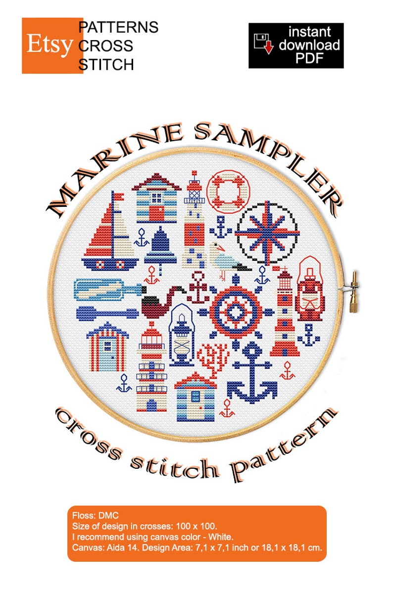 cross stitch pattern KIT Marine sampler round lifebuoy rose wind captain/'s pipe bell lighthouse seagull steering sea lantern coral