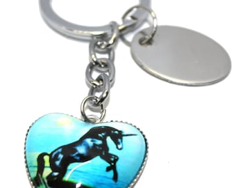 Engraved personalised metal galloping unicorn keyring in velvet gift pouch LT153