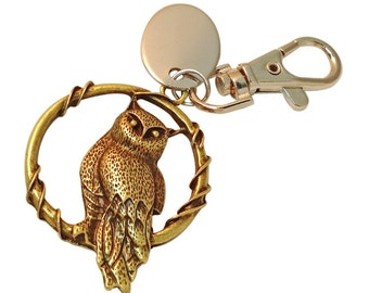 Brown metal owl custom engraved PL368 personalised keyring with gift pouch