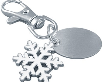 Luxury Engraved Gifts UK Mens Custom Snowflake Keyring With Gift Pouch