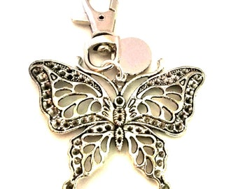 PL50 personalised with velvet gift pouch ladies butterfly keyring engraved