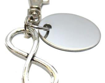 Engraved personalised metal love infinity keyring in velvet gift pouch LT143