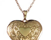 ladies engraved personalised 18k gold plated heart locket necklace gift box v5