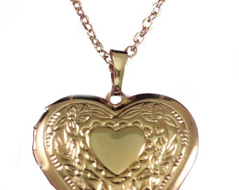 1285726850837c ladies engraved personalised 18k gold plated heart locket necklace & gift  box v5