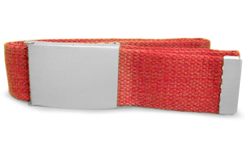 Personalised red canvas belt in velvet gift pouch LR81red