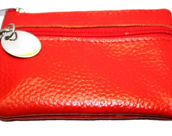 Engraved / personalised metal letterbox red leather purse in velvet gift pouch AA128