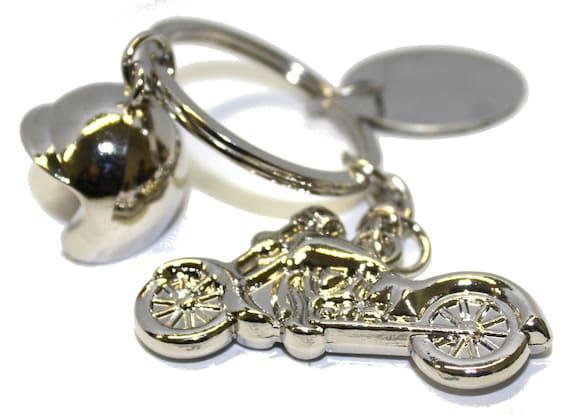 18b37e32 Engraved / personalised metal motorbike and helmet keyring in | Etsy