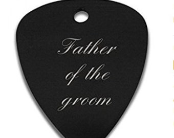 Father of the Groom Engraved / personalised Anodized guitar pick / plectrum in gift pouch - C8BLK