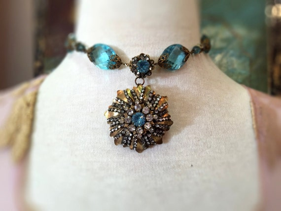 Miriam Haskell aqua choker with jeweled Chrysanthe