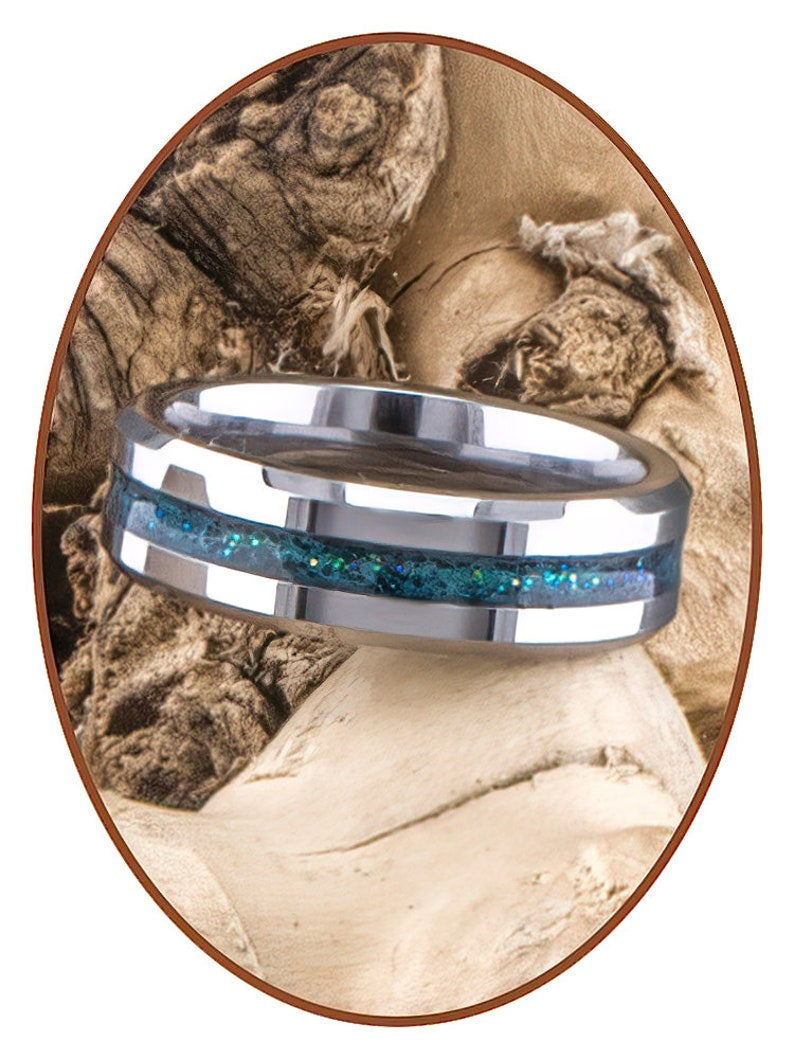 Memorial Ring Tungsten Carbide Cremation Jewelry Gold or Silver Ashes ring Sparkling RB048GZX Pet Ash 6mm