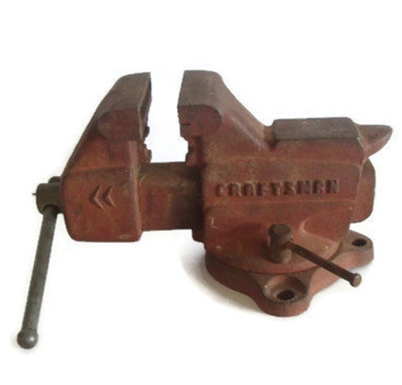 vintage tool craftsman bench vise anvil swivel base pipe etsy