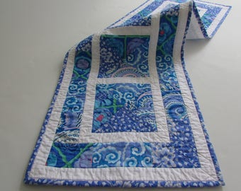 Quilted Blue and White Table Runner in popular Kaffe Fassett prints adds to a lovely table setting