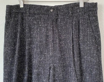 1980's' Cotler Wool / Poly Blend Black Flecked Pleated Front Straight Leg Trousers