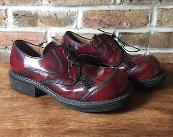 Vintage 1990's Oxblood Leather Vented Wide Toe Oxfords by T.U.K. US Women 8.5M