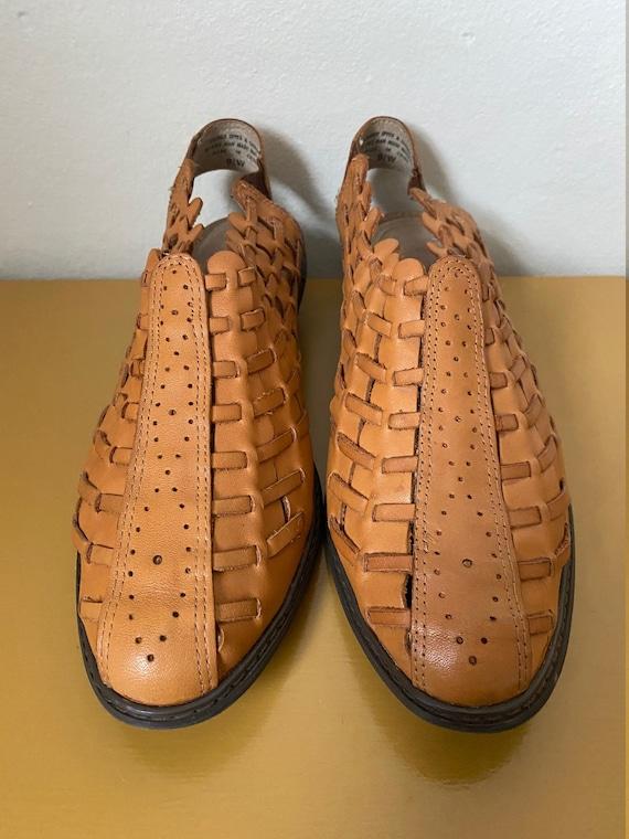 1990's Char Woven Caramel Leather Kitten Heel Mul… - image 2