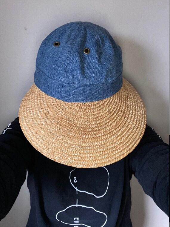 Denim & Straw Oversized Visor / Sun Hat