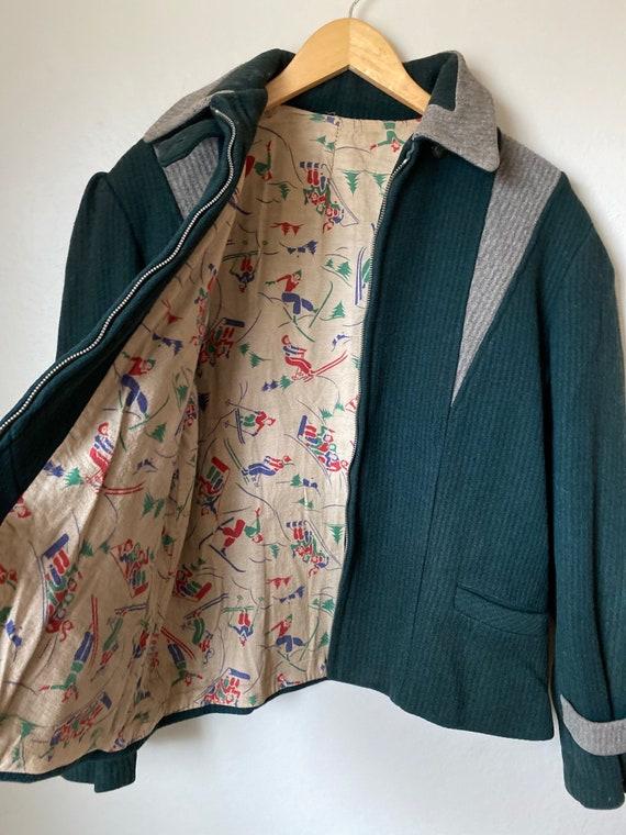 1940's Wool Ski Jacket w/ Printed Cotton Flannel L
