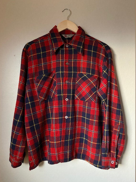 1940's Red Shield Plaid Wool Button Front Work Shi