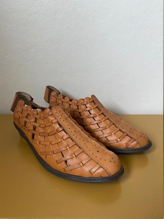 1990's Char Woven Caramel Leather Kitten Heel Mul… - image 3