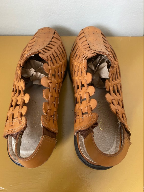 1990's Char Woven Caramel Leather Kitten Heel Mul… - image 8