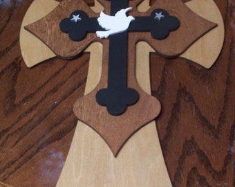 Large Stacked Wooden Cross with Dove and Stars