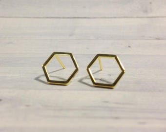 Honeycomb Stud Earrings, 10mm Shiny Gold Hexagon Earrings, Geometric Earrings, Honeycomb Jewelry, Hexagon Jewelry, Modern Minimalist