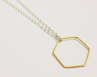 Hexagon Necklace, Honeycomb Necklace, Honeycomb Jewelry, Minimalist Necklace, Gold and Silver, Raw Brass Hexagon Pendant Necklace