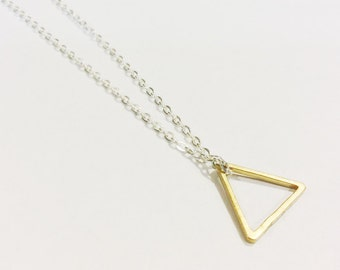 Triangle Necklace, Shape Jewelry, Modern Minimalist, Gold Triangle Necklace, Geometric Jewelry, Simple Necklace, Geometric Triangle
