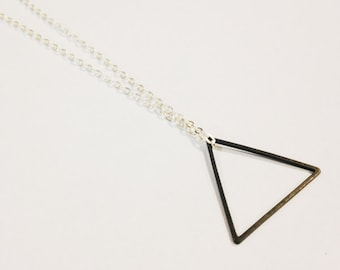 Triangle Necklace, Shape Jewelry, Modern Minimalist, Black Triangle Necklace, Geometric Jewelry, Oxidized Brass Necklace, Geometric Triangle