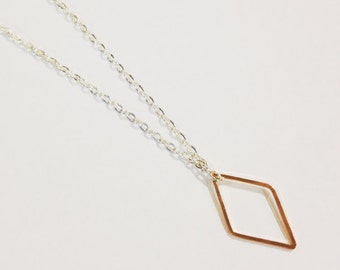 Geometric Diamond Necklace, Rose Gold Diamond Necklace, Dainty Diamond Necklace, Diamond Shape, Minimal Diamond, Geometric Jewelry