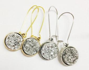 Metallic Druzy Dangle Earrings, Silvery Druzy Earrings, Quartz Jewelry, Geometric Jewelry, Silver Dangle Earrings, Gypsy Earrings, Bohemian