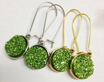 Druzy Hoop Earrings, Green Glitter Druzy Earrings, Green Druzy Dangle Earrings, 12mm Green Druzy Earrings, Glitter Earrings, Glitter Hoops
