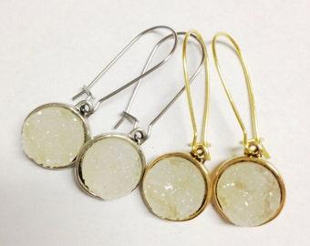 White Diamond Druzy Earrings, Druzy Earrings in Sugar, Moonstone Druzy Earrings, Druzy Drop Earrings, Faux Druzy Earrings, Gypsy Jewelry