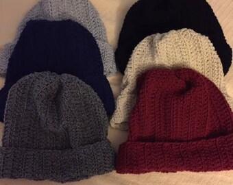 Handmade Beanie Hat Cap Men Teen Winter large extra large burgundy red 2d065b12aa4