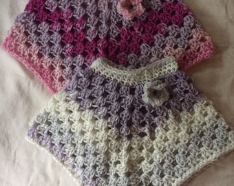 Newborn baby infant preemie crochet Poncho Shawl Cover Top Pink Purple Lavender 0-6 months