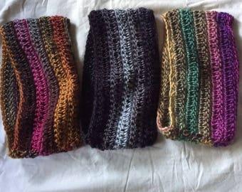 Hand Crochet Cowl #1 brown gold pink green burgundy