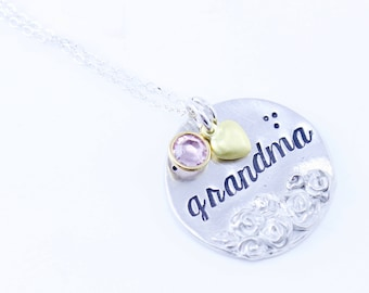 UPDATE:  orders placed after 6/15 will NOT ship until 7/9!!!!!! <3Grandma Mother Mom Floral Pewter Silver and Gold Necklace or Keychain