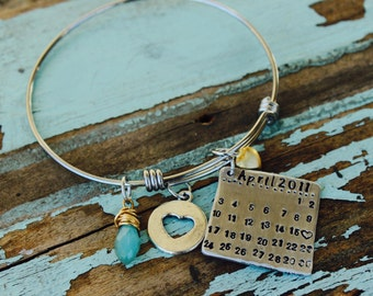 Mini Calendar Custom Hand Stamped Bangle - Stainless Steel Square Name Jewelry Name Bracelet Mom Gift - Gift for Her-gold accents