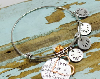 The love between a Mother and Daughter Bracelet, Hand Stamped Bangle Bracelet, Stainless Silver  Bangle Charm Bracelet