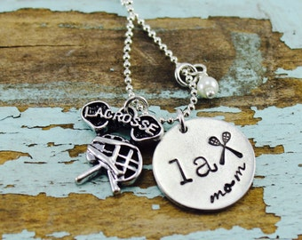 Lacrosse mom stamped necklace on Organic Pewter | LAX Necklace | Custom | Pearl |Sport Jewelry | Sport MOM necklace | Best Friend Necklace
