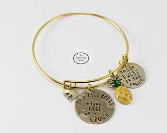 Custom Hand Stamped Pineapple  Bangle -Gold Plated Stainless Steel Rectangle  Name Bracelet Mom Gift - Gift for Her - New gold Jewelry