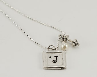 Pewter SQUARE Monogrammed   GIRL POWER Necklace with Sterling Silver necklace ---Running Shoes or Barbell