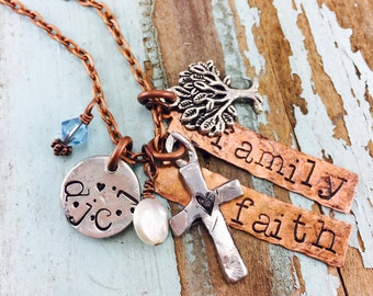 Family| Faith | Customized  Necklace, Personalized Jewelry| Sterling Silver |Family first | Family Tree| Faith| Mixed Metals  Necklace