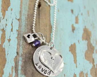 Will NOT ship until 7/9/18LOVED Organic Pewter Necklace - Hand Stamped Pewter - Pewter Heart - Organic Pewter Jewelry